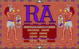 The Curse of RA Atari ST Main menu