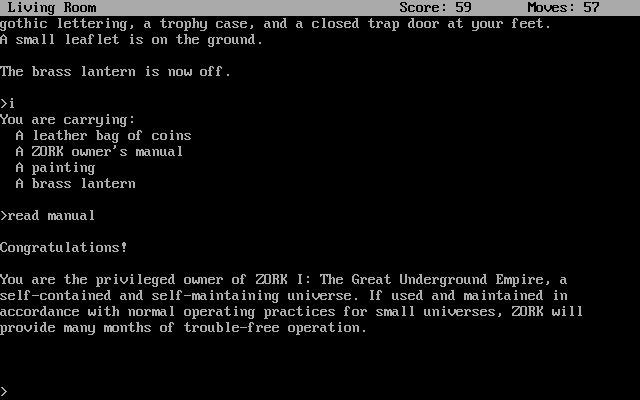 Zork: The Great Underground Empire DOS Zork's sense of humor is truly unique.