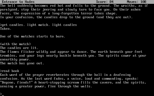 Zork: The Great Underground Empire DOS Performing exorcism is just one of the many tasks you will face in the game.
