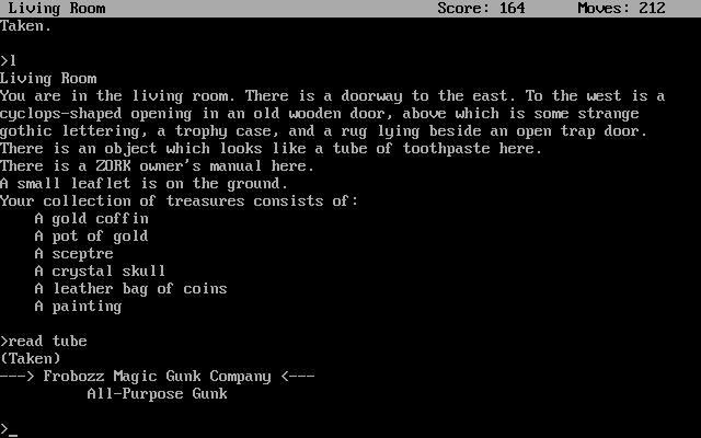 Zork: The Great Underground Empire DOS There's nothing a tube of Gunk can't fix.
