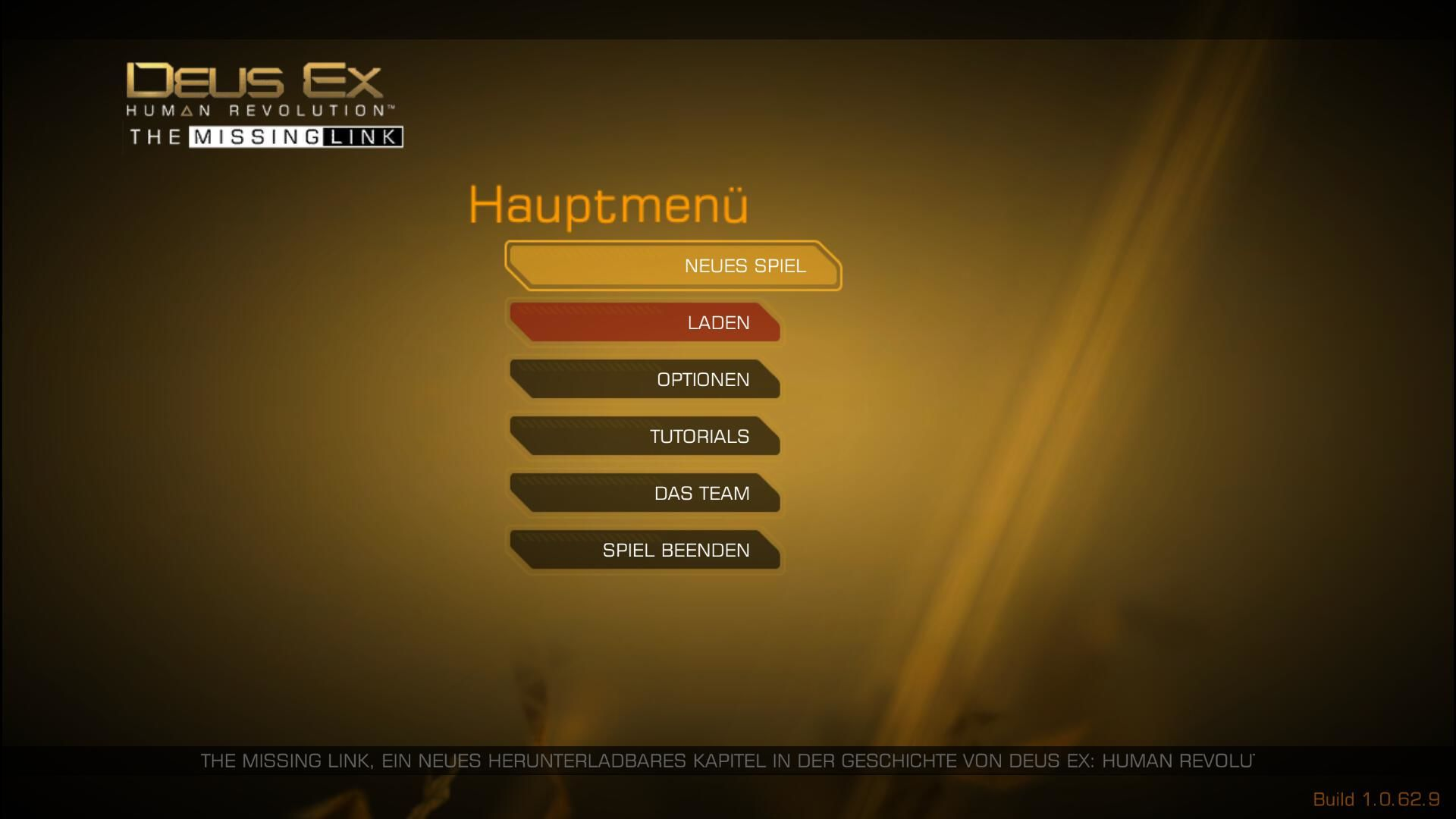 Deus Ex: Human Revolution - The Missing Link Windows Main menu