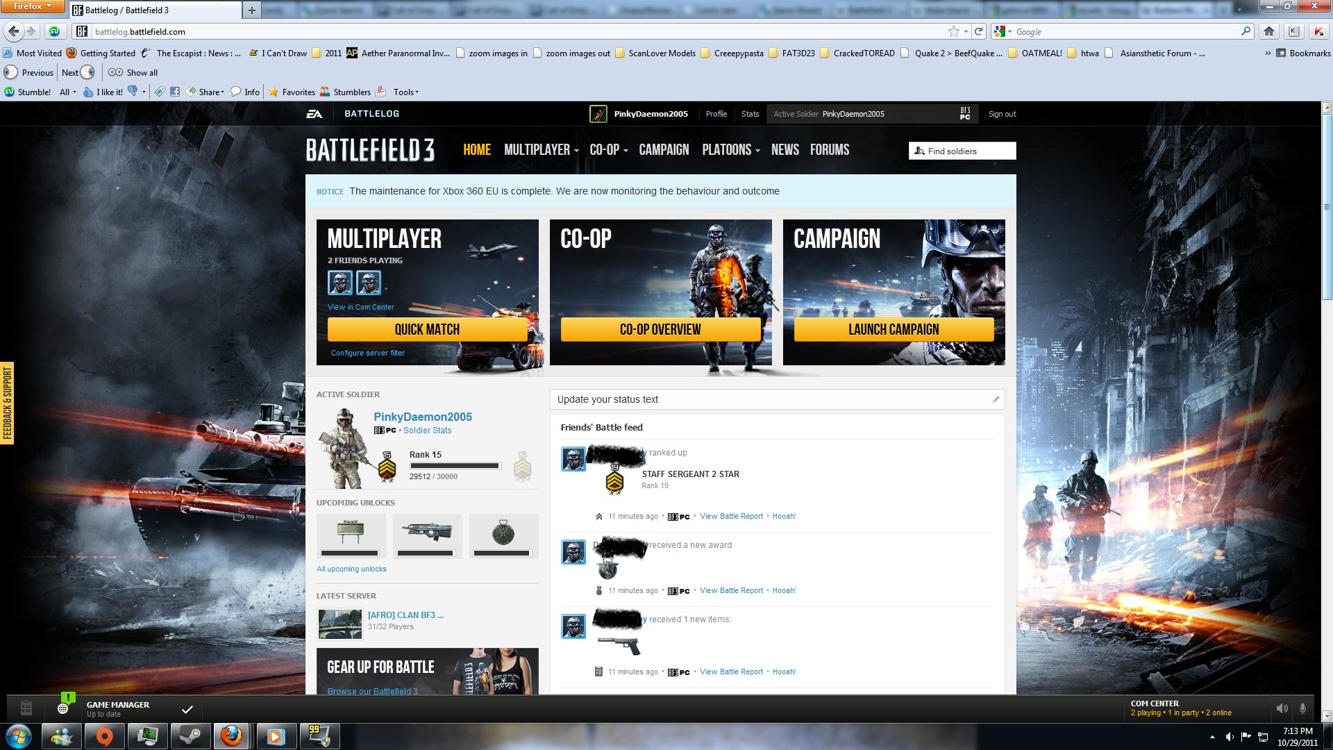 Battlefield 3 Windows The Battlelog interface