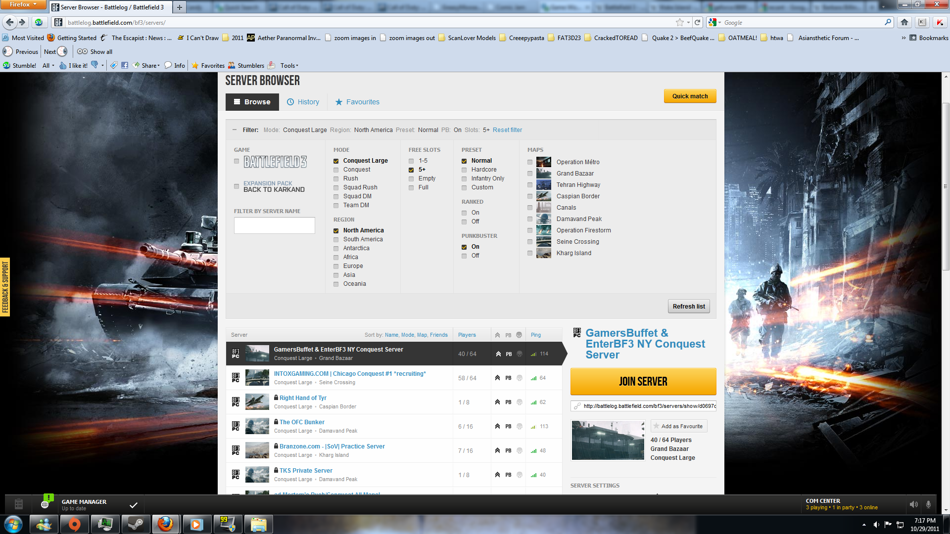 Battlefield 3 Windows The Battlelog server browser
