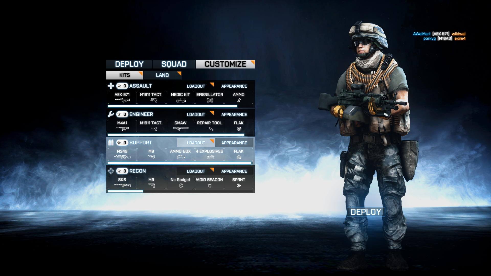 Battlefield 3 Windows Picking a class.  You can see your soldier, his gear, and camouflage.