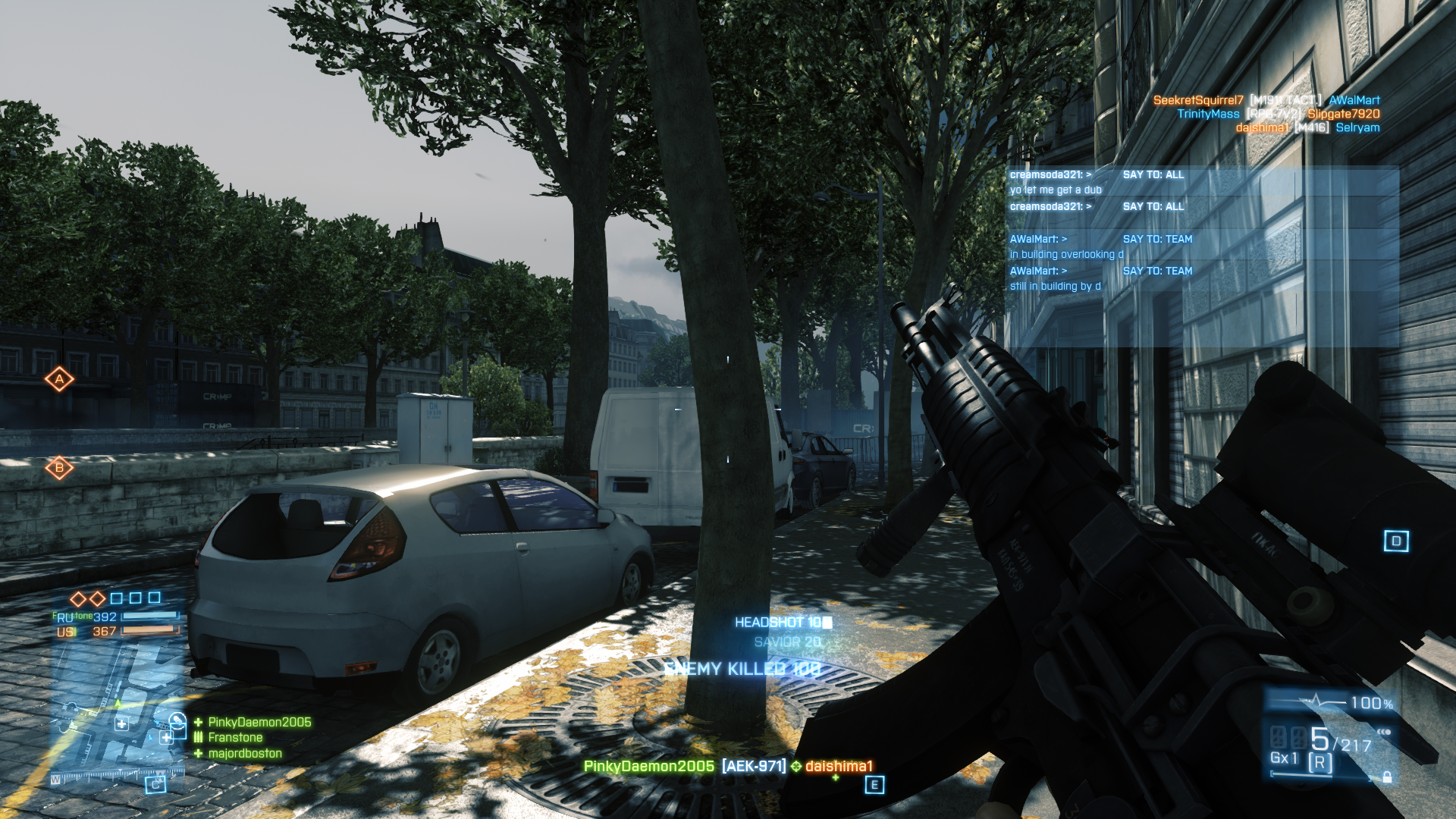 Battlefield 3 Windows Like in past <i>Battlefield</i> games, it tallies your points and rewards you for getting headshots and the like.