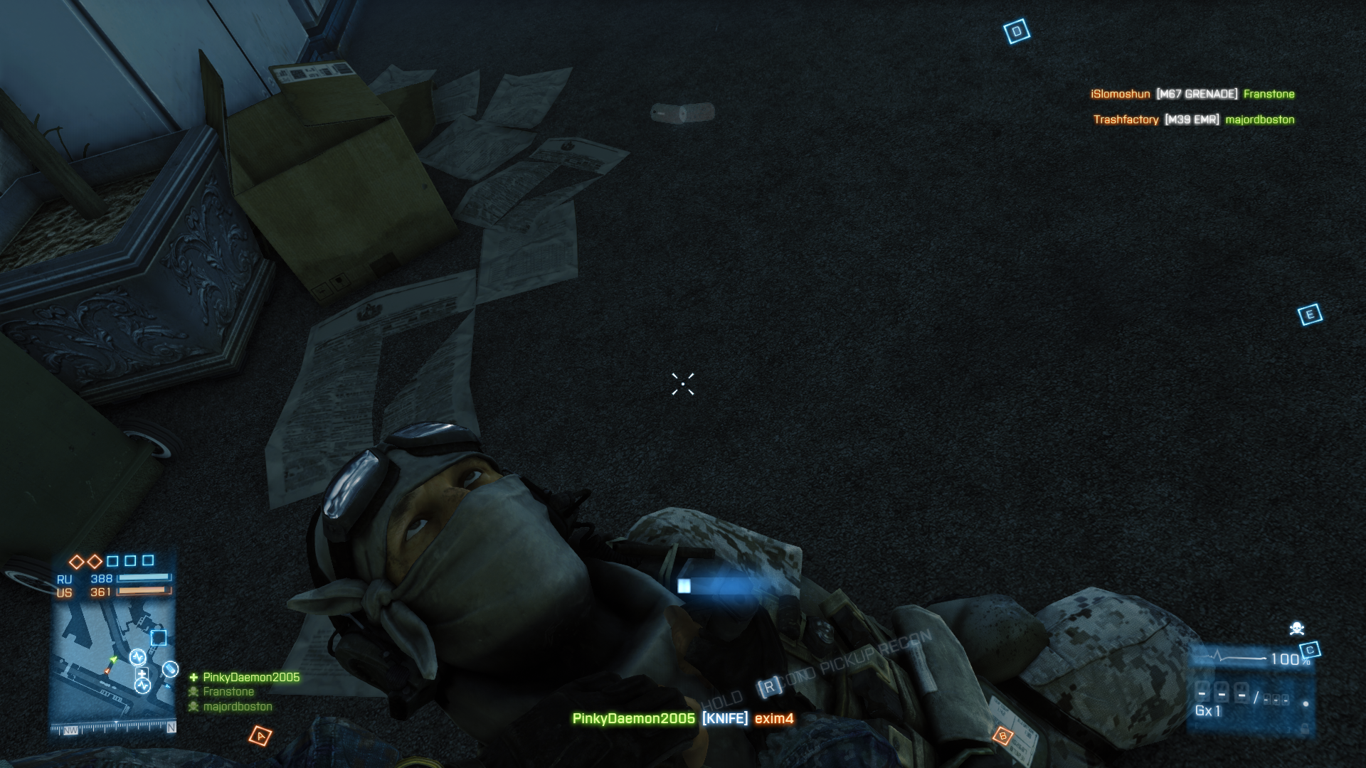 Battlefield 3 Windows Knives no longer kill instantly from all directions, but if you sneak up on a poor schmuck you can get an instant stealth kill.
