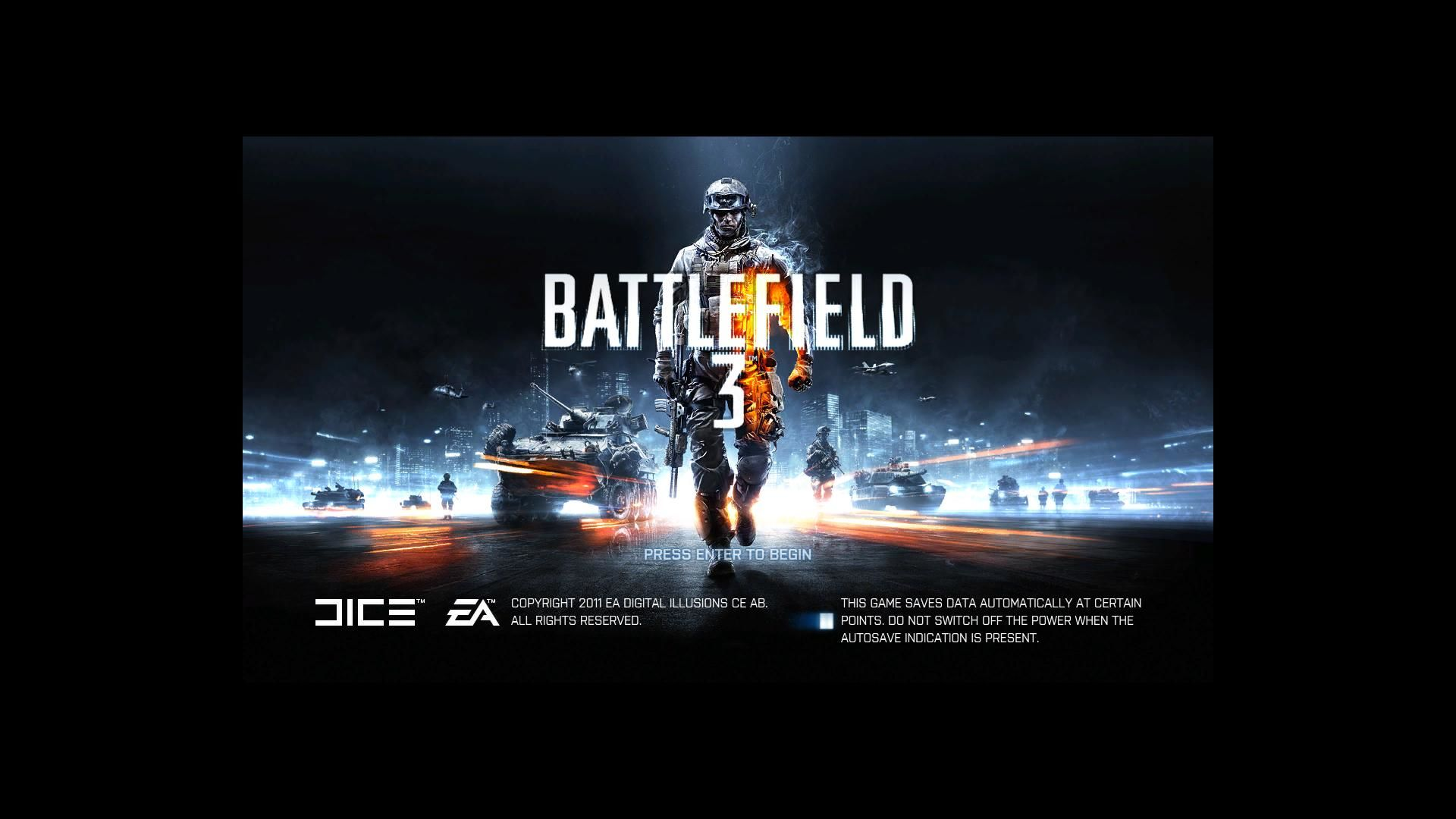 Battlefield 3 Windows Title screen