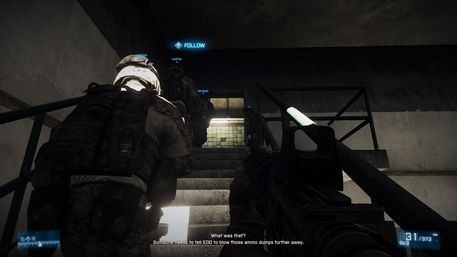 Battlefield 3 Windows Single player - stick with the guy with FOLLOW over his head