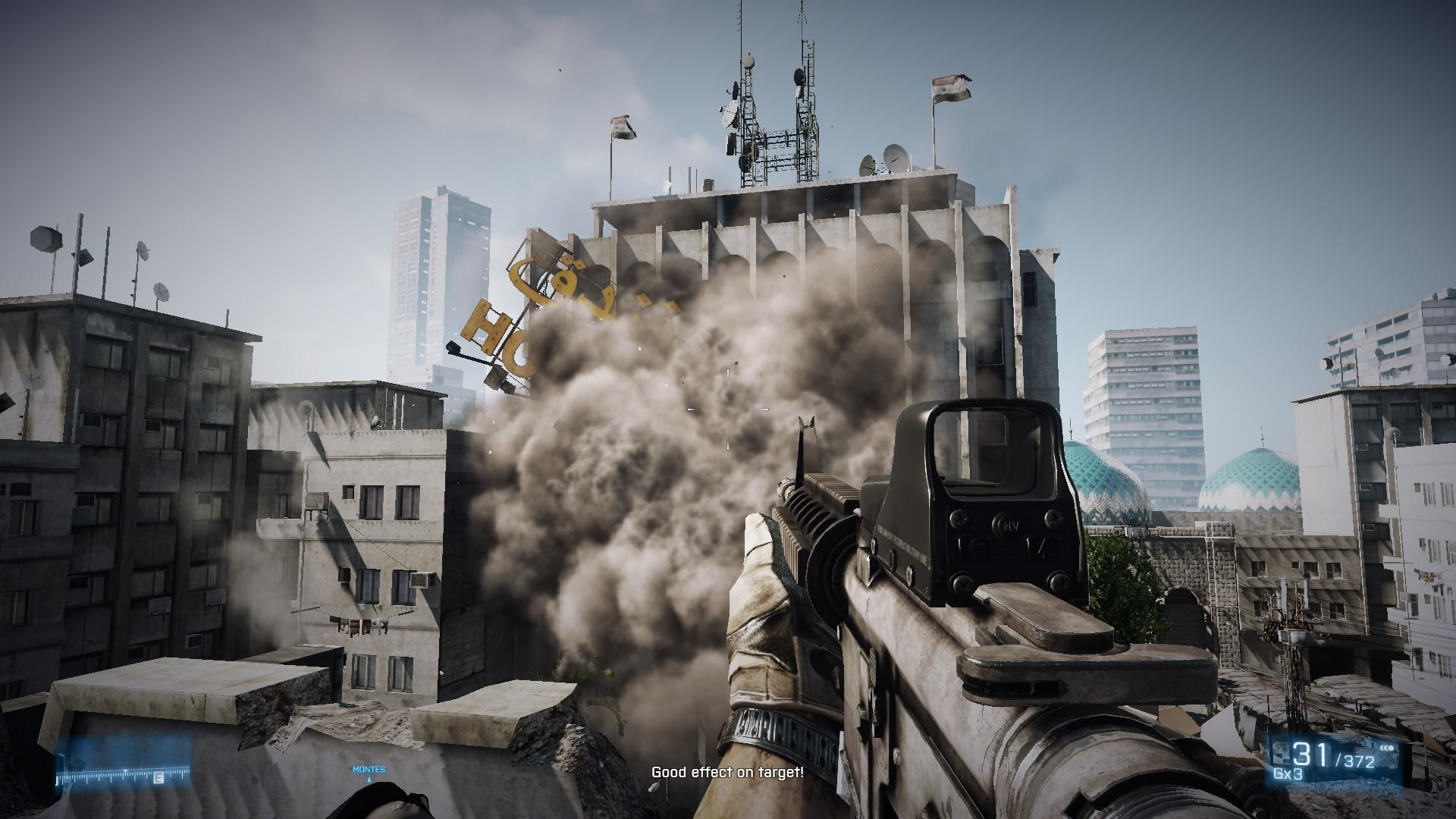 Battlefield 3 Windows Single player rocket shot taking down a building