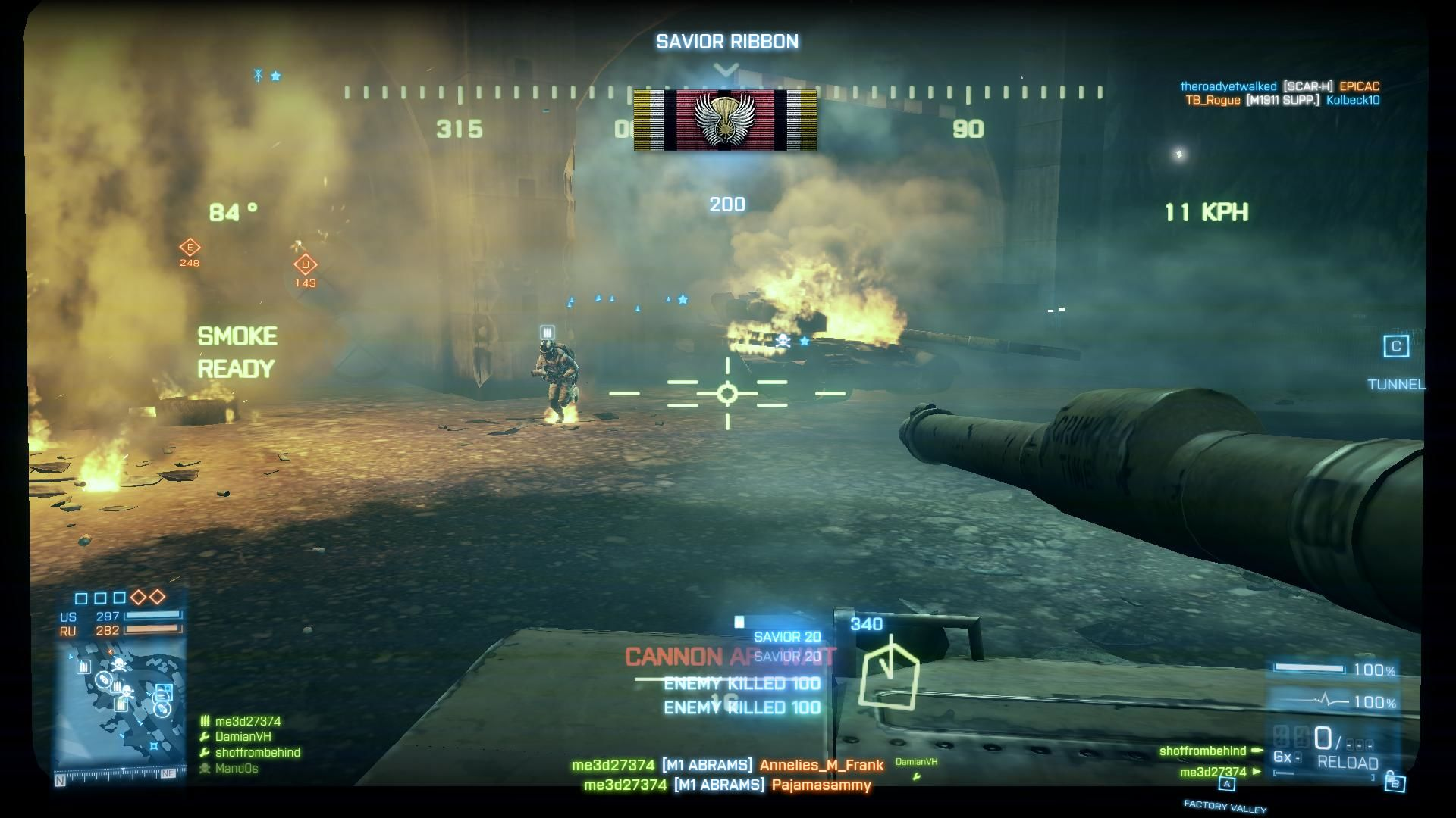 Battlefield 3 Windows Damavand Peak - Destroyed enemy tank saving a teammate gaining a Savior Ribbon