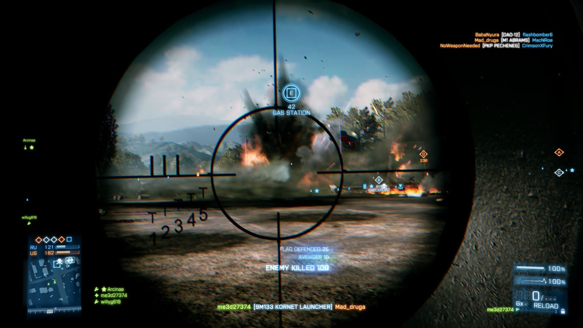 Battlefield 3 Windows Destroying a US M1 Abrams Tank defending our flag with the fixed 9M133 Kornet Launcher