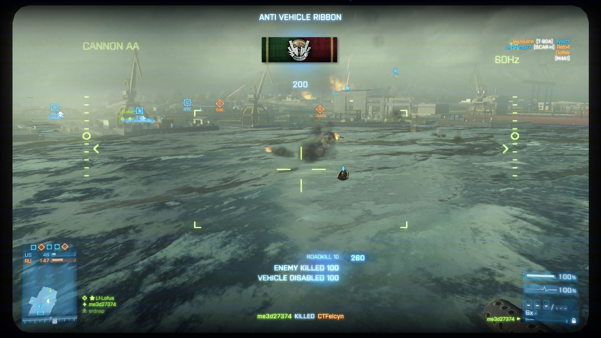 Battlefield 3 Windows Noshahr Canals - Using the AA canon on the ship shooting down choppers and jets.  Gaining a ribbon for my latest kill.