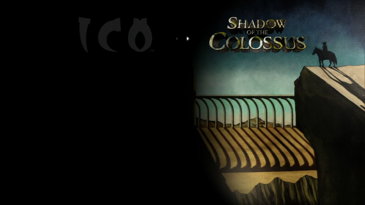 The ICO & Shadow of the Colossus Collection PlayStation 3 Game selection screen - Shadow of the Colossus.