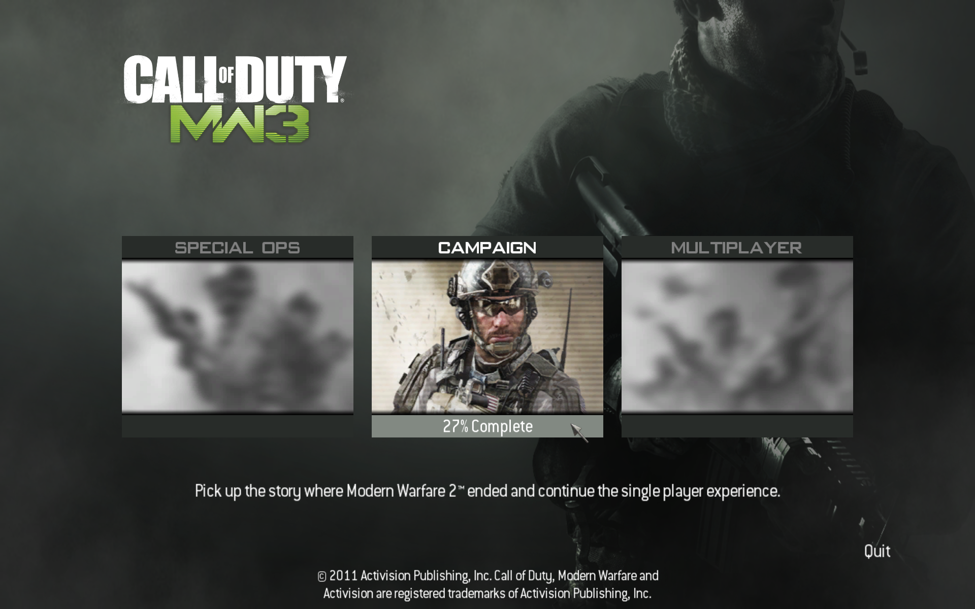 Call of Duty: MW3 Windows Main menu (consists of Special Ops, Campaign and Multiplayer).