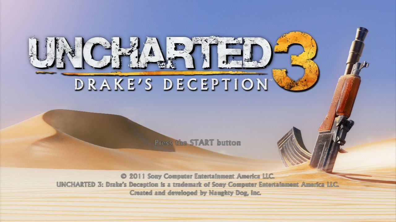 Uncharted 3: Drake's Deception PlayStation 3 Title screen