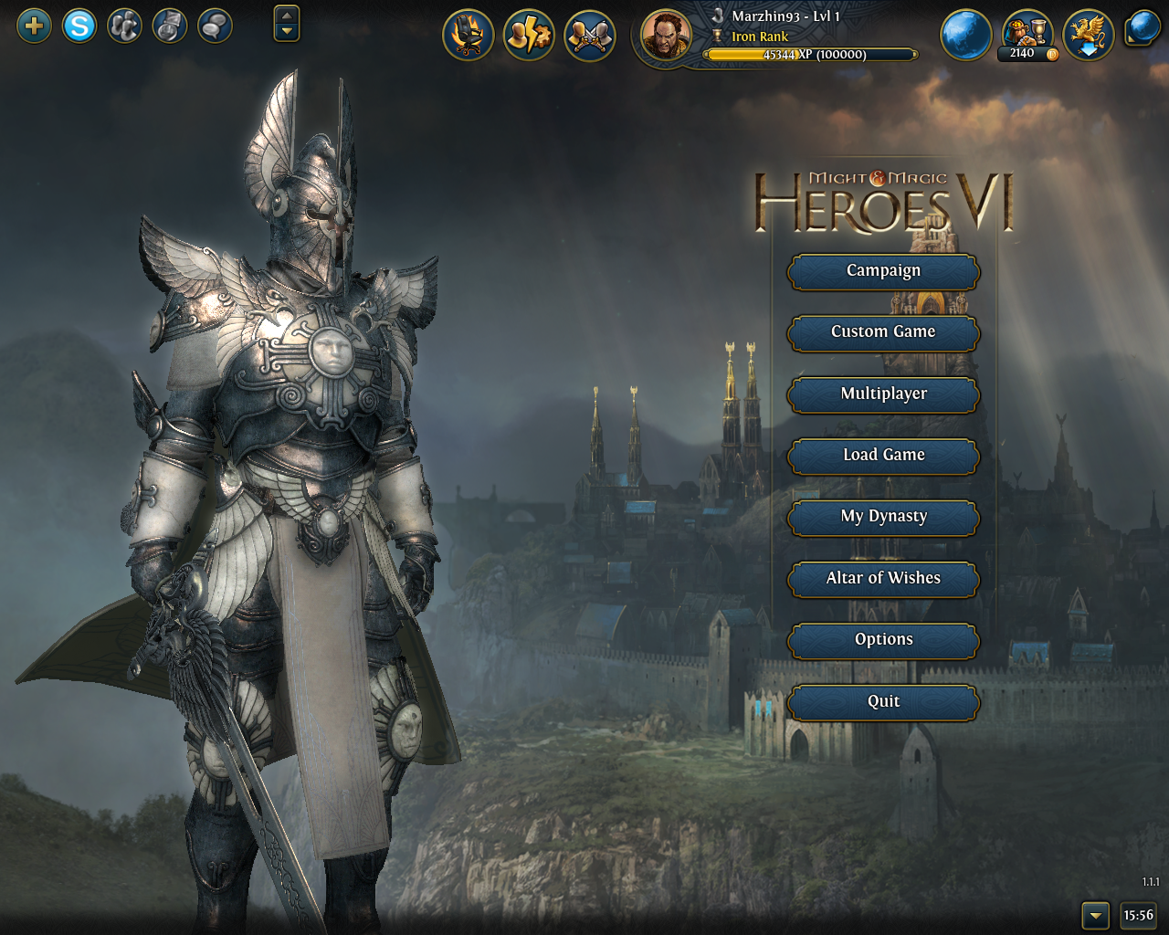 Might & Magic: Heroes VI Windows Main menu