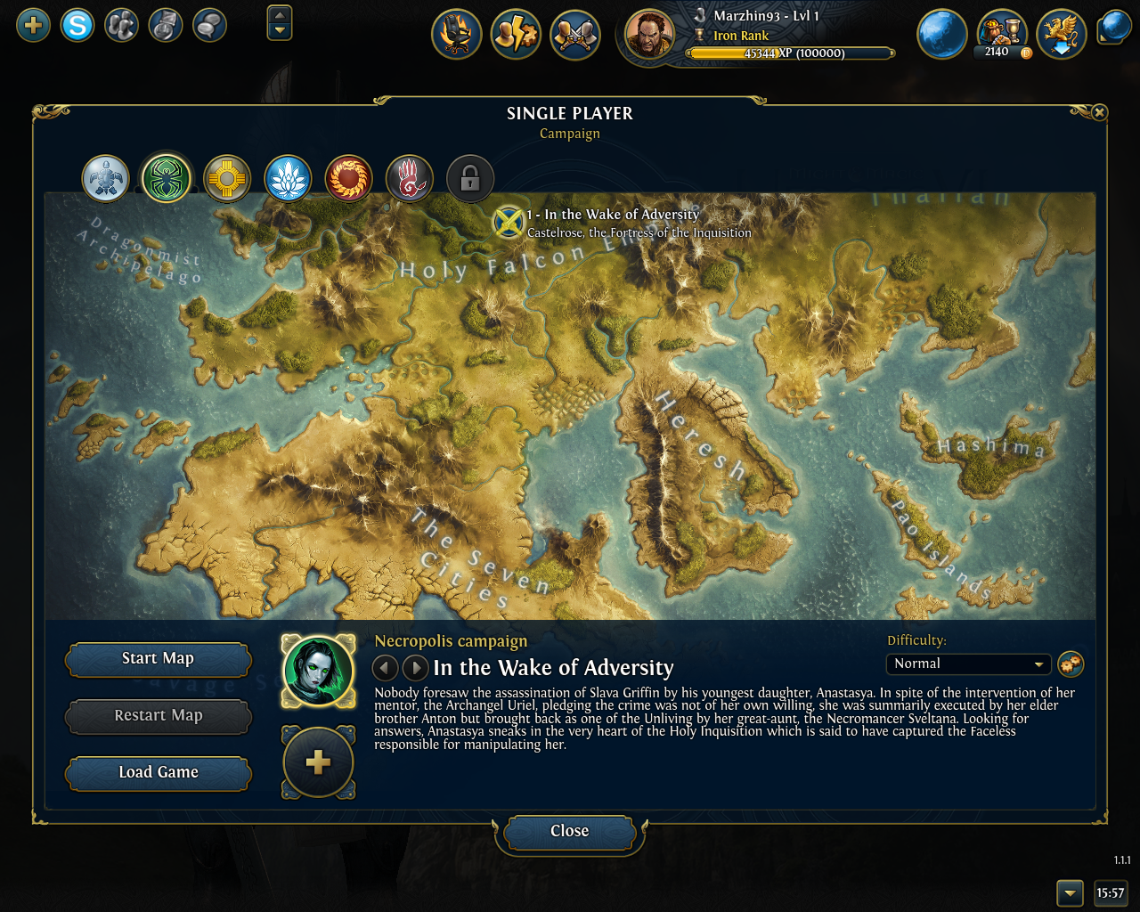 Might & Magic: Heroes VI Windows Campaign selection screen, showing the map of Ashan
