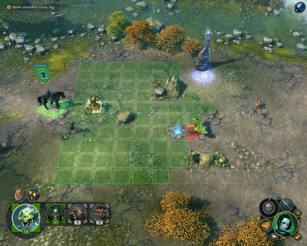 Might & Magic: Heroes VI Windows A battle against neutral creatures. There are now interactive objects on the battlefield.