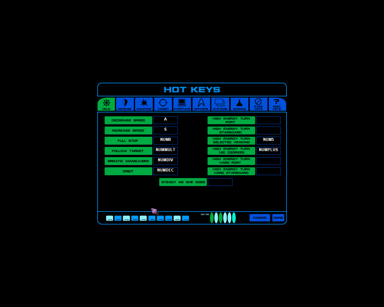 Star Trek: Starfleet Command Windows Action keys can be redefined. Not all keys are applicable to all races, not everyone has a cloaking device for example. This just shows the Helm keys. There are eight other tabs to view