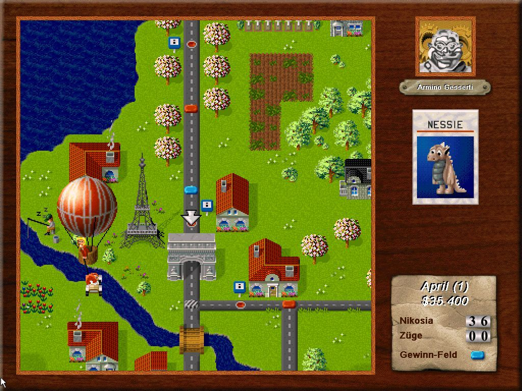 dr drago s madcap chase screenshots for windows 3 x mobygames a player is being carried away by a balloon an other player sent for him playing a card german version