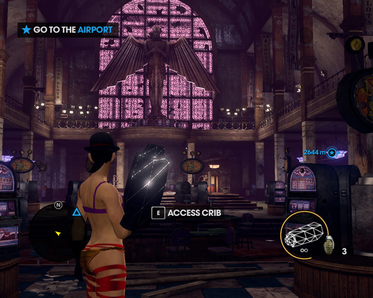 Saints Row: The Third Windows Standing in a grim cathedral that serves as a casino, wielding a weapon taken during a trip through virtual reality. No, seriously!
