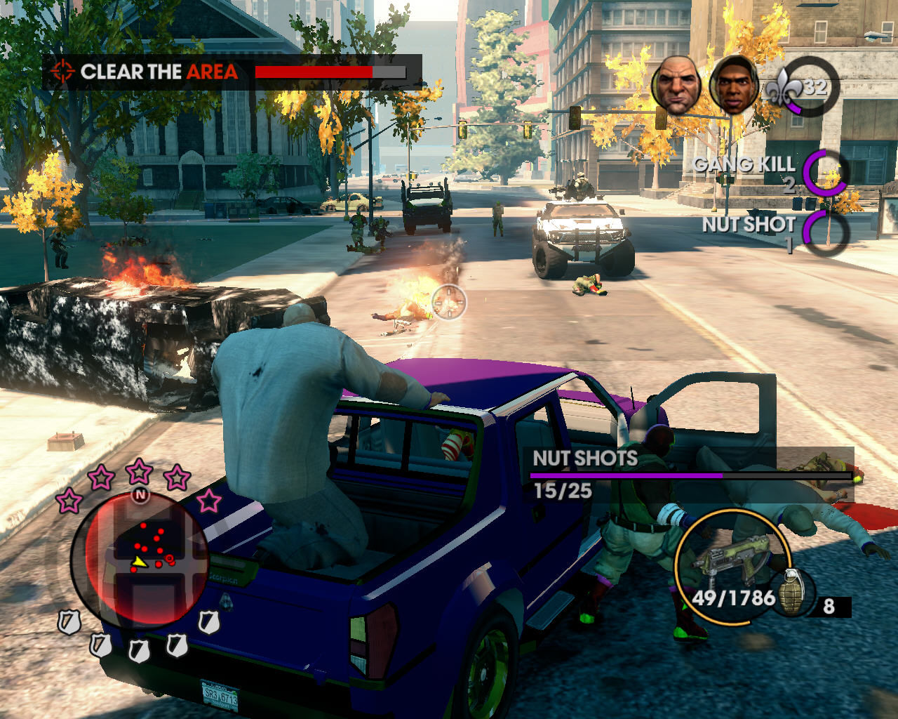 Saints Row: The Third Windows The eloquent mutant Oleg rides in my truck; somebody tries to hijack it, but I keep setting people on fire with a fully upgraded SMG, watching out for that armored vehicle
