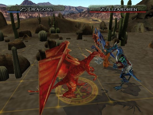 Heroes of Might and Magic: Quest for the DragonBone Staff PlayStation 2 Combat: I guess the lizard is a toast..
