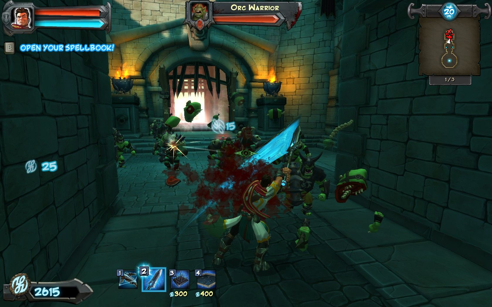 Orcs Must Die! Windows Using my sword to give them a good beating