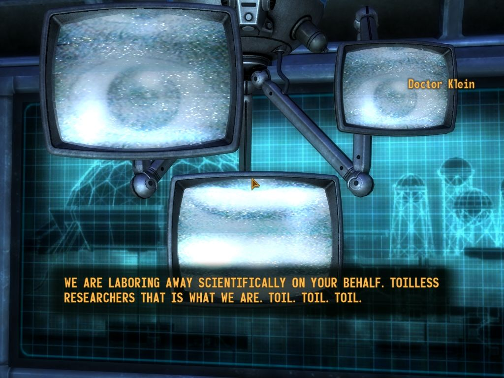 Fallout: New Vegas - Old World Blues Windows One of the Sink Tank inhabitants. Robots that use scientist's brains.