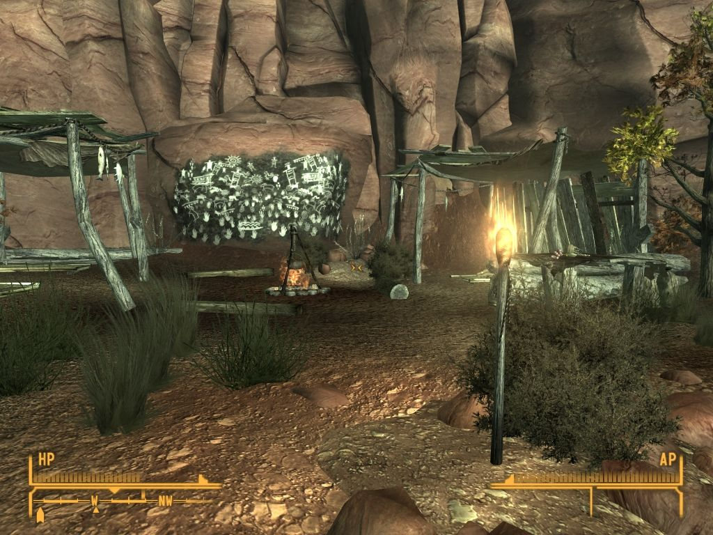 Fallout: New Vegas - Honest Hearts Windows There are no civilized settlements in Zion Canyon. THis is typical tribal camp.