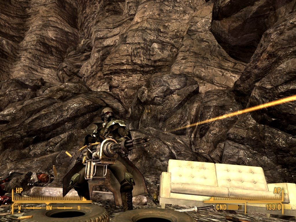 Fallout: New Vegas - Lonesome Road Windows Minigun in action.