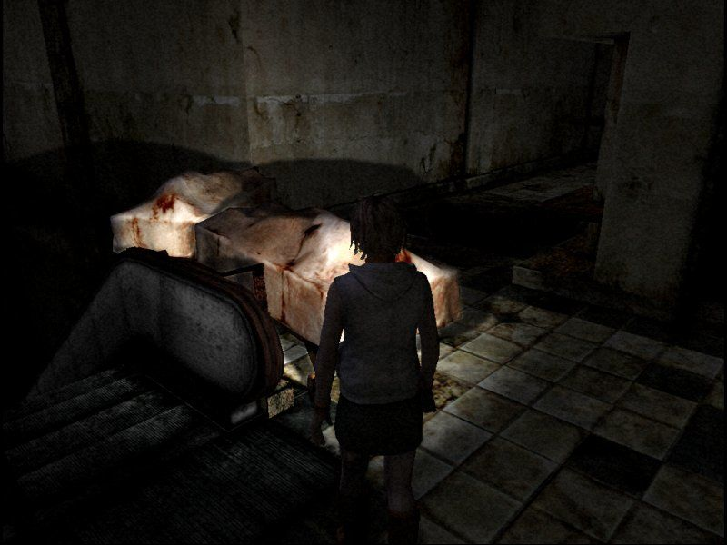 Silent Hill 3 Windows You know you're in a Silent Hill game when... gurneys with bodies covered in blood-stained sheets are stocked in the halls of a shopping mall.