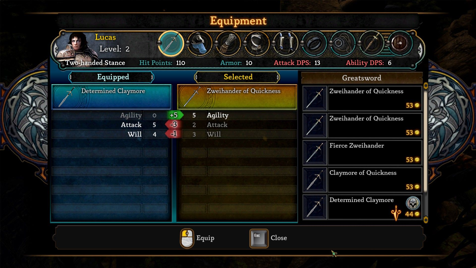 Dungeon Siege III Windows The inventory