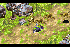 Jurassic Park III: Island Attack Game Boy Advance Plowing through Dinosaurs with the motor cycle