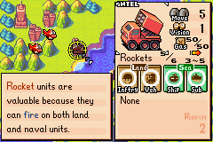 Advance Wars Game Boy Advance Unit information screen lets you know the unit's movement rate on ideal terrain,  sight range, weapon effectiveness, etc