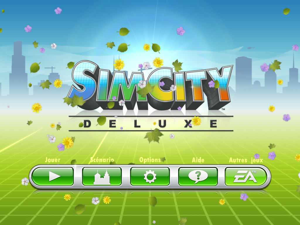 SimCity Deluxe iPad Title screen.