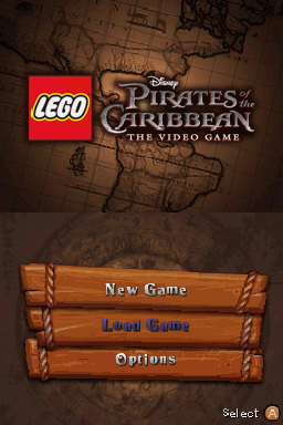 LEGO Pirates of the Caribbean: The Video Game Nintendo DS Title screen with main menu.