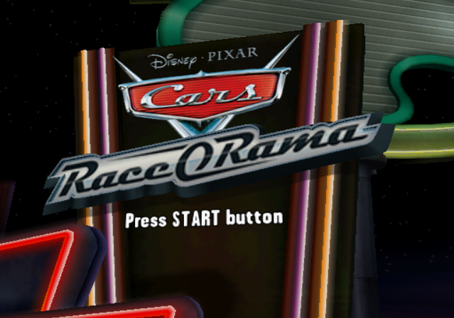 Disney•Pixar Cars: Race-O-Rama PlayStation 2 Title screen.