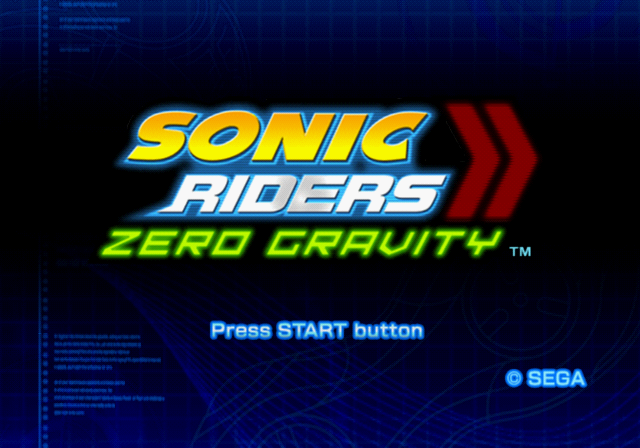 Sonic Riders: Zero Gravity PlayStation 2 Title screen.