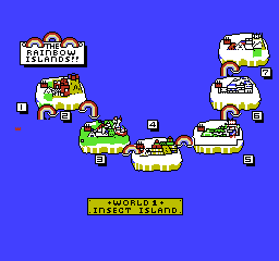 Rainbow Islands NES A map of the Rainbow Islands