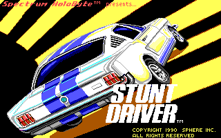 Stunt Driver DOS Title Screen (EGA/Tandy 16 colors)