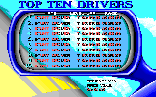 Stunt Driver DOS Top Ten Drivers (VGA 256 colors)