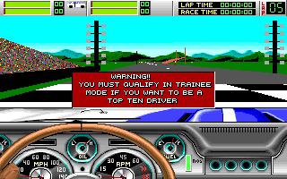 Stunt Driver DOS Begin with Warning (VGA 256 colors)