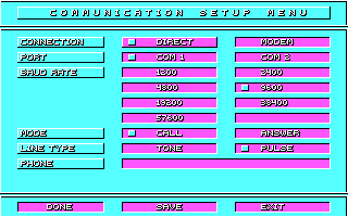 Stunt Driver DOS Communication Setup Menu (CGA)