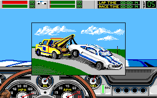 Stunt Driver DOS Carried by wrecker after crash (VGA 16 colors)