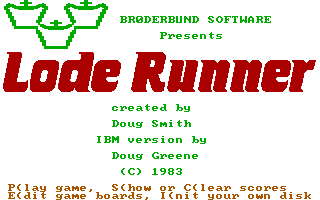 Lode Runner PC Booter Title Screen with Extra menu