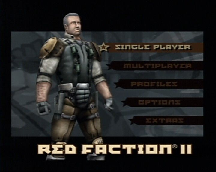 Red Faction II PlayStation 2 Main Menu (with randomly selected ingame character model)