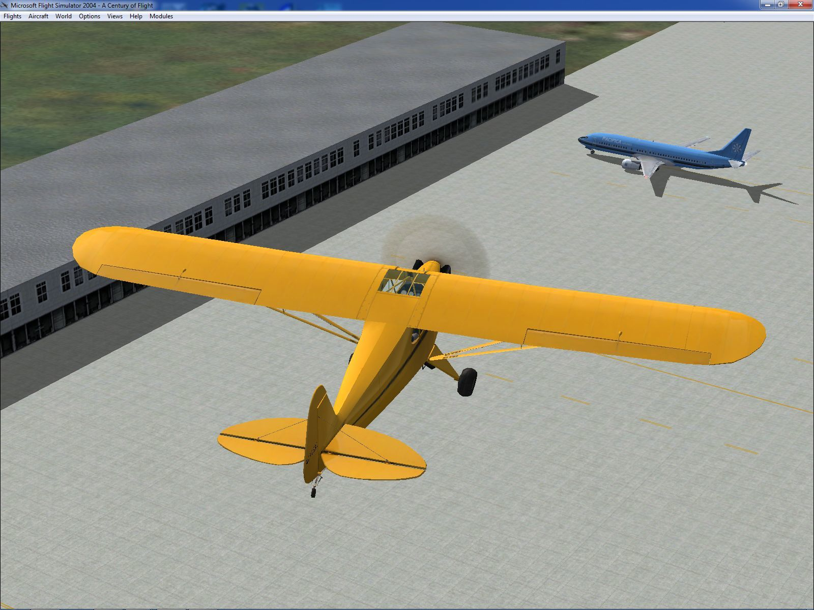 Microsoft Flight Simulator 2004: A Century of Flight Windows The Piper J-3 Cub is the plane that, allegedly, 75% of all American airmen in WWII learned to fly in. Here it's flying a circuit around Bratsk airport, Russia