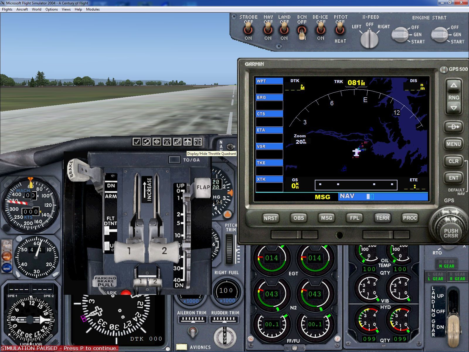 Microsoft Flight Simulator 2004: A Century of Flight Windows Here the icons for the throttles and the GPS have been selected. The player can use the mouse to drag these panels around the screen so that they do not obscure the view