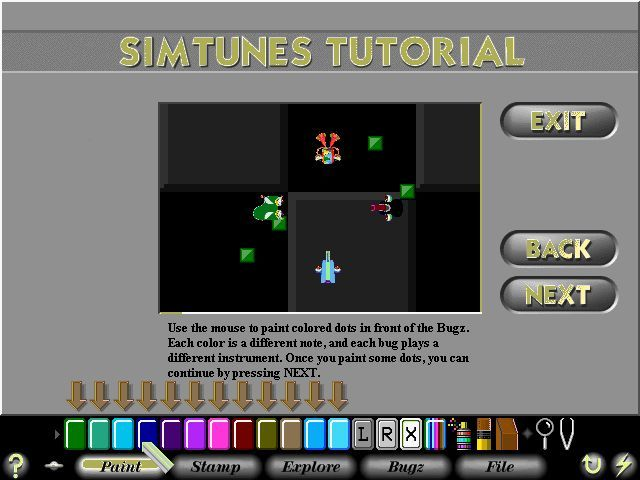 SimTunes Windows In its simplest form the game is played by putting coloured tiles in front of the bugs using the crayon like tool. Each bug plays that a different note and instrument for that coloured tile